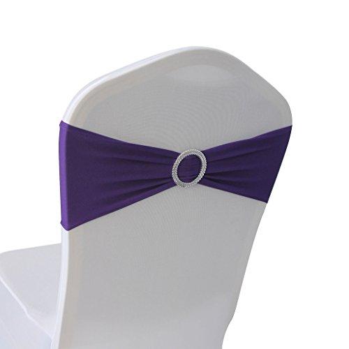 (Purple Spandex Chair Bands Sashes - 50 pcs Wedding Banquet Party Event Decoration Chair Bows Ties (Purple, 50))