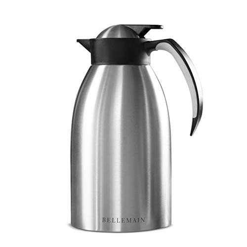 Bellemain Premium Thermal Coffee Carafe Stainless Steel 2 Liter /8 cup Double wall insulated vacuum carafe ()
