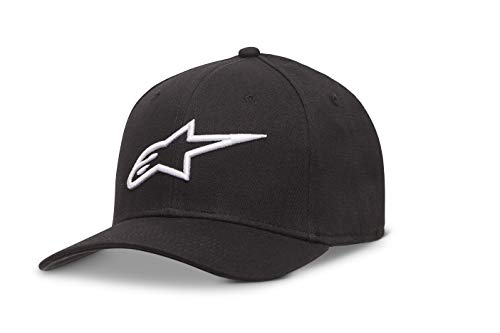 (Alpinestars Men's Curved Bill Structured Crown Flex Back 3D Embroidered Logo Flexfit Hat, Ageless Black/White, L/XL )