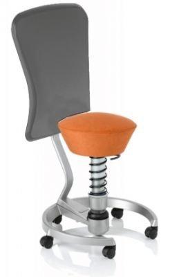 Aeris Swopper Classic - Bezug: Microfaser / Terracotta | Polsterung: Tempur | Fußring: Titan | Spezial-Rollen für Teppichböden | mit Lehne und grauem Microfaser-Lehnenbezug | Körpergewicht: SMALL