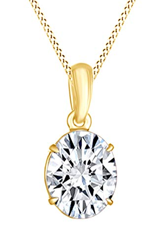 Jewel Zone US AFFY Women s Classic Oval Shape Pendant Necklace in 10k Solid Yellow Gold 1 cttw