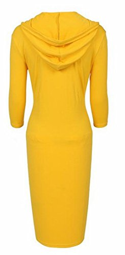 Casual Solid Coolred Dress Classic Mid Sleeve Womens Yellow Short Hoodies Length xUzwEqUr5