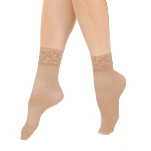 Hosiery Sheer Taupe - Angelina Nylon Spandex Sheer Anklet Stocking with Lace (6-Pairs)