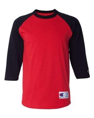 Champion Men`s Raglan Baseball T-Shirt, M-Scarlet/Black
