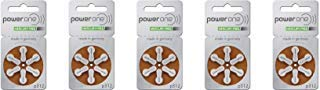 Power One Size 312 Zinc Air No Mercury (60 batteries) + Battery Caddy Keychain (Power One Hearing Aid Battery 312)
