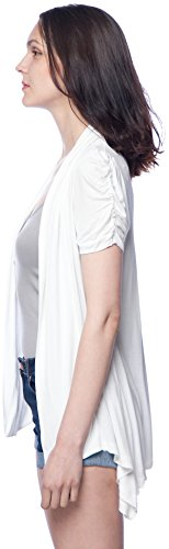 Lucky 21 Women's Basic Lightweight Plus Size Ruched Sleeve Cardigan 1X White