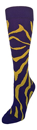 TCK Zebra Stripe Socks (Purple/Gold, Small)