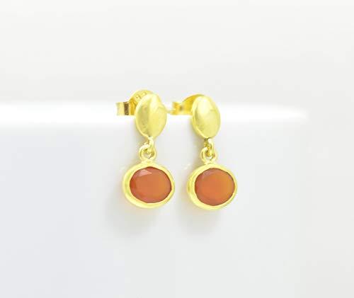 Tiny Carnelian Gold Plated Earring Silver 925, Small Oval Orange Gemstone Vermeil Petite, Summer Boho, Matt Hammered, Dainty, Berlin Jewellz