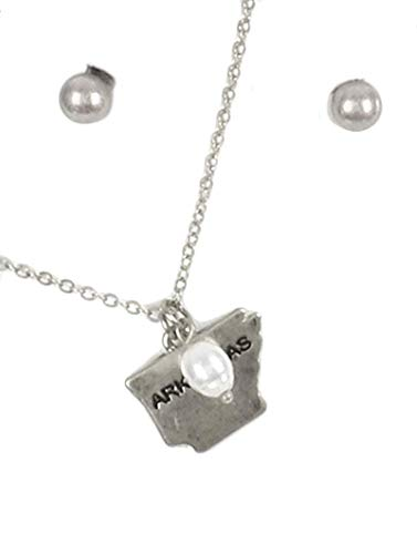 (Fashion Jewelry ~ State Shape Charm Pendant Necklace and Earrings Set (State of Arkansas Silvertone))