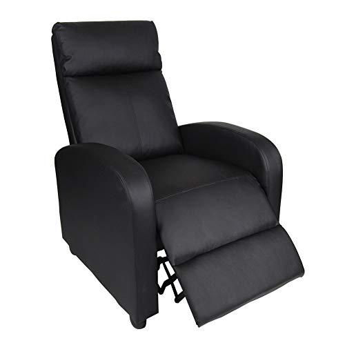 Polar Aurora Single Manual Recliner Chair Padded Seat PU Leather/Fabric Living Room Sofa Modern Recliner Seat Home Theater Seating for Living Room (Black -PU)