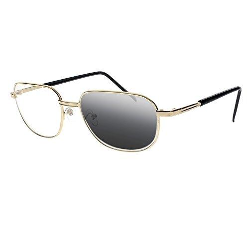 Metal Gold Aviator Transition Photochromic Reading Glasses UV400 Sun Readers (Gold, 2.5)