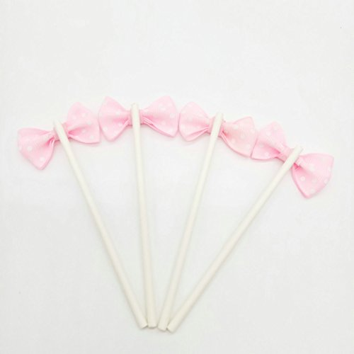 Paity Ribbon Bow Party Wedding Cupcake Toppers Birthday Cake Toppers Cake Decoration Bowknot Party Supplies Cupcake Toppers Wedding Cake Decoration/set of 20 by Paity (Image #1)