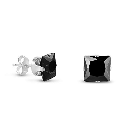 Campton Beautiful .925 Sterling Silver Square Stud Earrings - Jet Black CZ Size 2mm-10mm | Model ERRNGS - 13525 | 6mm - ()