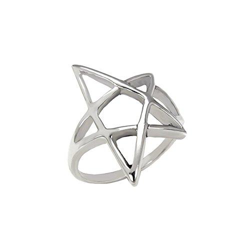 Sterling Silver Oxidized Pentagram Star Ring with Ring Width of 24MM - Sterling Silver Pentacle Ring