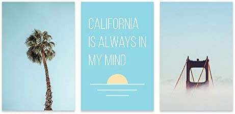 3 Panel Palm Tree and Golden Gate Bridge with California is Always in My Mind Quotes x 3 Panels