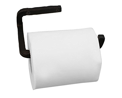 Handmade Wrought Iron Toilet Paper Holder - Black Iron Bathroom Accessories - Farmhouse, Vintage, Western, Rustic Décor - Easy to Install, Strong, Sturdy Wall Mount Toilet Paper Holder - Wrought Bath Iron Accessories