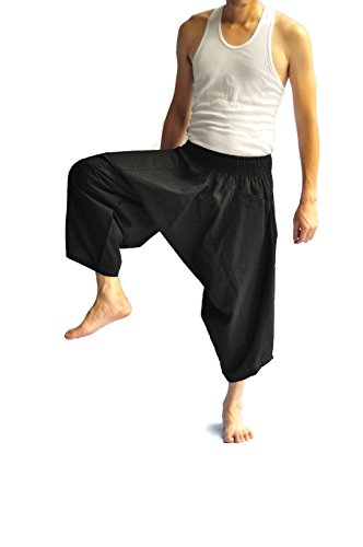 Siam Trendy Men's Japanese Style Pants fisherman pants All color design (Black) by Siam Trendy