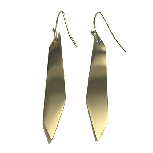 - Teardrop Dangle Earrings for Women Modern Minimalist Tread Drop Jewelry Titanium Metal Geometric Shaped (Geometric Metallic)