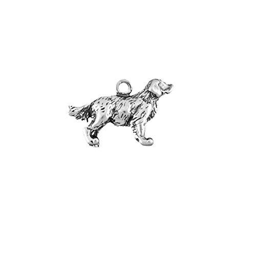 Sterling Silver Heavy 3D Dog Charm Golden Retriever Item #41441
