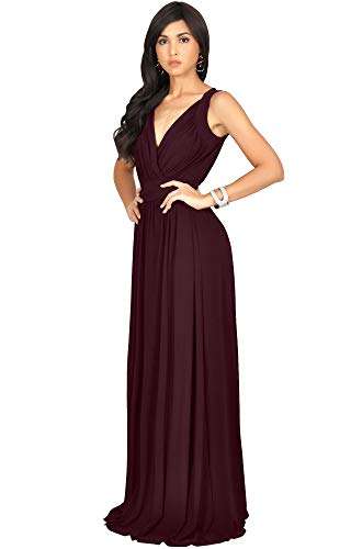 Red KOH Gown Dress Maroon Cocktail Wine Long Flowy KOH Evening Bridesmaid Maxi Womens Sleeveless Uqw8SO