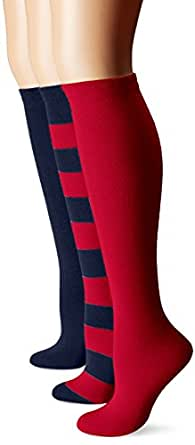 Muk Luks Women's Game Day Sport Stripe Mid Calf Socks Unisex 3 Pair Pack, Blue/Red, One Size