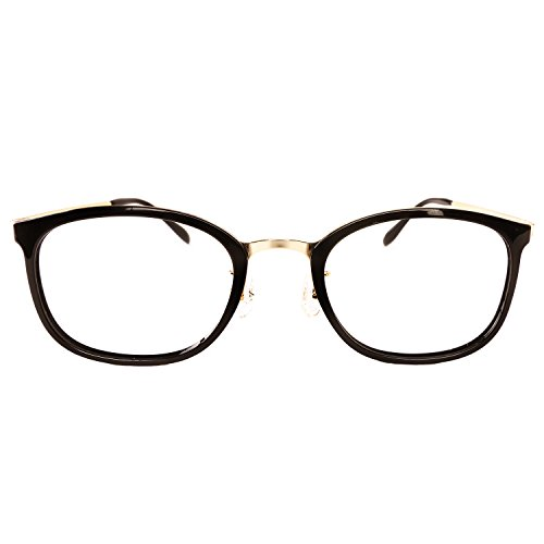 Luvoirgroup | Premium Classic Fashion Glasses Frame Black gold Framed Spring Temple Clear Lens Eye Glasses | Beautiful for your fashion items. Made in - Eyeglasses Gold Framed