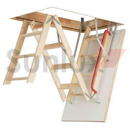Optistep Wooden Timber Folding Loft Ladder Attic Stairs. Frame Size W70cm X  L111cm H Up