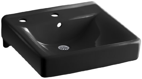 KOHLER K-2084-L-7 Soho Wall-Mount Bathroom Sink with Single-Hole Faucet Drilling and Left-Hand Soap/Lotion Dispenser Drilling, Black Black