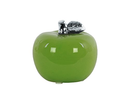 Urban Trends 45802 Ceramic Apple Figurine with Silver Leaf, Green