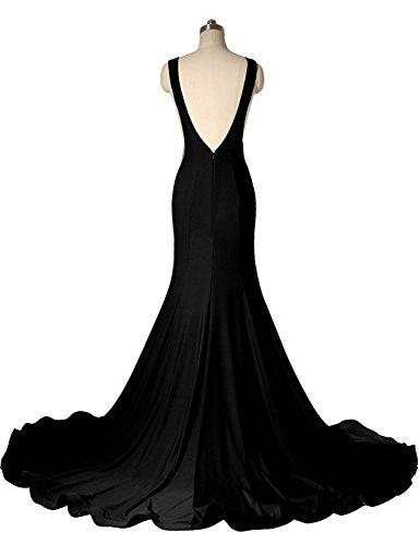 Meerjungfrau Dehnbar Burgund Aiyana Abendkleid ärmellos Rueckenfrei Ballkleider Zug mit Scoop Kleid Langes Damen Schwarz Kapelle 0WUgqa1