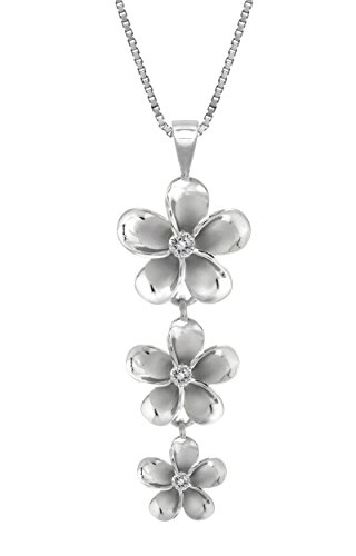 Sterling Silver Three Plumeria CZ Necklace with 18