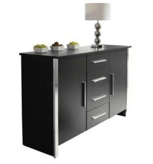 Sideboard or Cupboard Black Ash 4 Drawer 2 Door Chrome Trim Finish by Blackpool
