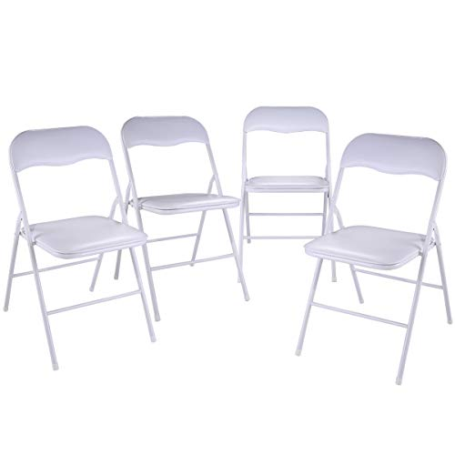 Tobbi 4-Pack Commercial White Plastic Folding Stack-able Wedding Party Event Chair White