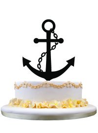 Nautical Style Cake Topper with Anchor Silhouette Birthday Party Decoration by zhongfei