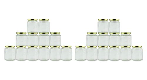 (Cornucopia 6-Ounce Hexagon Jars (24-Pack); Clear Glass Bottles for Spices, Party Favors, Jams)