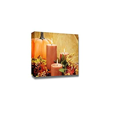 Canvas Prints Wall Art - Lit Candles Surrounded by Autumn Decorations | Modern Wall Decor/Home Art Stretched Gallery Canvas Wraps Giclee Print & Ready to Hang - 12