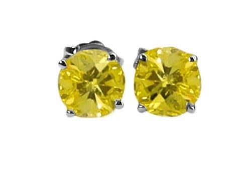 Boucles d'oreilles avec diamant Rond Or blanc-585/1000( 0.9 Ct, Fantaisie Jaune(Irradé) Couleur, I1-I2 Clarté)