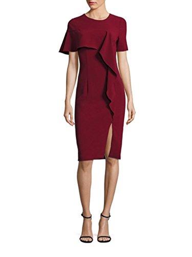 Ruffle Front Sheath Dress (Black Halo JENSEN Ruffle Front Sheath Dress in Belladonna)