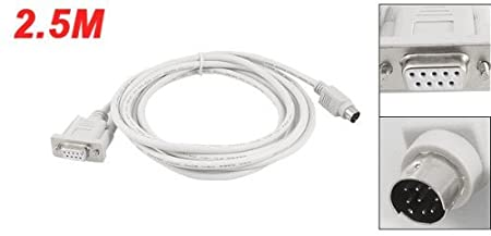 DB9P to 8P Mini Din RS232 Cable White 8.2 Ft for PLC DVP-EH Value-5-Star