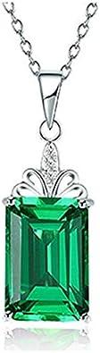 VBN Colgante Cuadrado Esmeralda Japonés Y Coreano, Cadena De Clavícula De Piedras Preciosas De Oro De 18 Quilates Chapado En Plata
