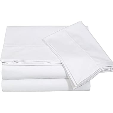 Cotton Sateen King Bed-Sheet-Set White - 4 Piece Bedding Set, Flat Sheet, Fitted Sheet and 2 Pillow Cases - by Utopia Bedding (King, White)