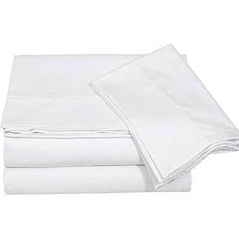 cotton sateen queen bed sheet set white 4 piece bedding set flat sheet fitted. Black Bedroom Furniture Sets. Home Design Ideas