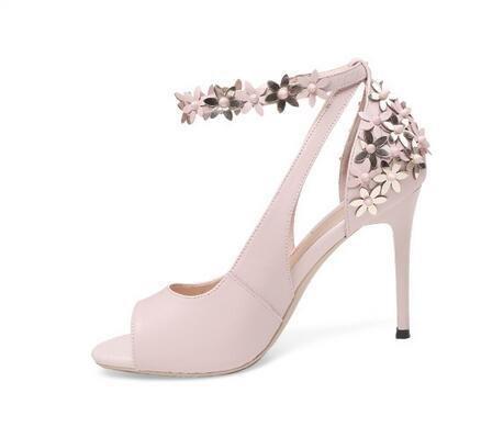 W&LM Sra Tacón alto sandalias Flores Boca de pescado sandalias Esto es bueno piel genuina Tacones altos piel de carnero zapato Pink