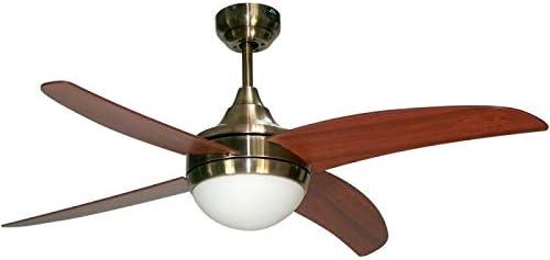 Ventilador de techo mod. OSIRIS con luz y mando a distancia, 117 cm. acabado Cuero Satinado con 4 palas Cerezo-Nogal, AkunaDecor.: Amazon.es: Hogar