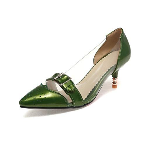 GanQuan2018 Women Transparent Low Heels Pumps Pointed Toe Buckle Decoration Slip on Kitten Heels Dress Shoes