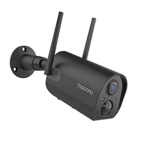 Topcony Camara de Vigilancia WiFi Exterior con Batería Recargable de 10400mAh, 1080P Cámara de Seguridad con Impermeable…