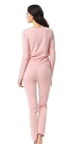 Botón Redondo Hogar Conjunto Pijamas Mujer El Informales Ropa Otoño Pantalones Con Rose Casuales De Elegante Largo Cuello Fashion Para Cómodo Mujeres Primavera Pijama Manga 0ZvqSF
