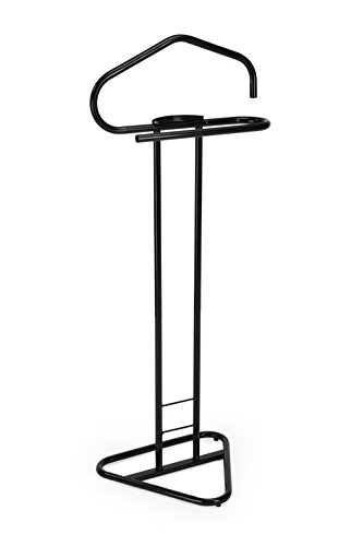 WILSHINE Men's Valet Stand Suit Clothes Valet Rack Stand for Men Black Metal