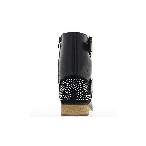 Bottines femme noires talon 3,5cm à brides et strass