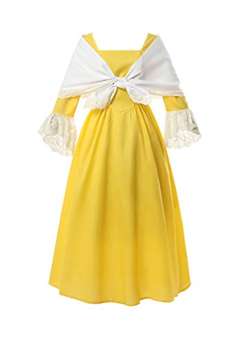 ROLECOS Pioneer Prairie Colonial Dress Civil War Reenactment Dress with Shawl for Women Yellow S